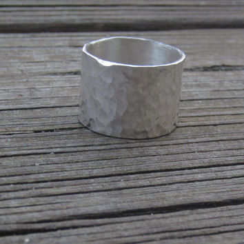 Wide Silver Ring, Hammered Ring, Hammered Silver Ring, Silver Ring