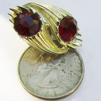 CORO Earrings Red Gold Tone Clip On  Big Ruby Crystals Vintage Jewelry   c50