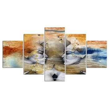 5 pieces colorful Abstract Face Wall Art Picture Home Decoration Canvas Print