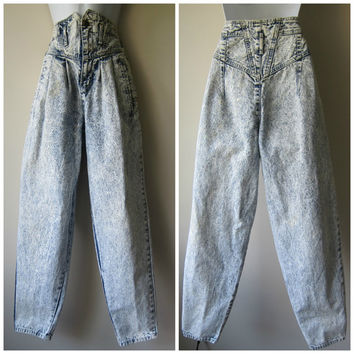 80s Super High Waisted Acid Washed Denim Jeans -- Super Funky Hip Hop // Hair Metal Fashion!