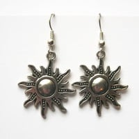 Sun Charm Earrings, Silver Sunburst Earrings, Personalized Birthstone Earrings, Sunny Earrings, Sunshine Jewelry, Nature Jewelry
