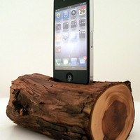 Natural Wood iPhone Dock with Bark On - ICN 424