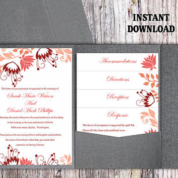 Pocket Wedding Invitation Template Set DIY EDITABLE Word File Download Coral Floral Invitation Colorful Invitations Printable Invitation