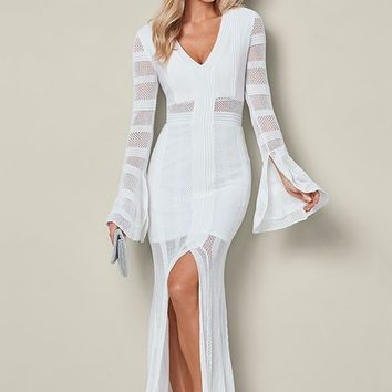 Long Sweater Dress in White | VENUS