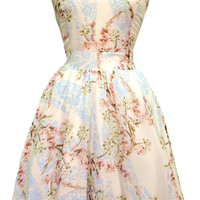 Pastel Pink Bouquet Chiffon Tea Dress