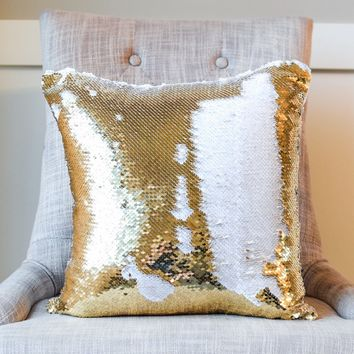 White & Gold Reversible Sequin Mermaid Pillow w/ Satin Back | COVER ONLY (Inserts Sold Separately)