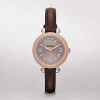 FOSSIL® New Arrivals Watches:Women Heather Mini Leather Watch – Dark Brown ES3138