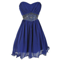 Royal Blue Crystal Homecoming Dress, Sweetheart Chiffon Short Homecoming Dress