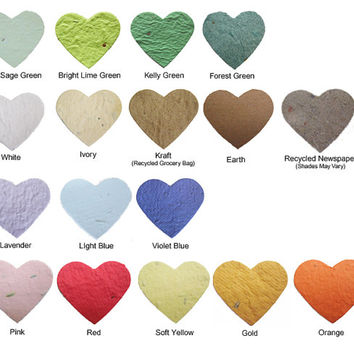 Eco Friendly Plantable Seed Paper Hearts Confetti - Pick Your Own Color Blend - 1000 Count - Great for Wedding Favors, Bridal & Baby Showers