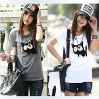 2 Colors New Lovely Slim Round Brought Cat Printed Short Sleeve T-shirt from Crazy Cats