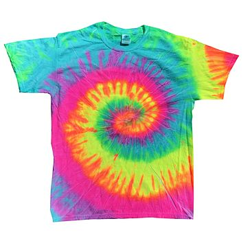 Tie Dye Shirt Multi Color Colorful Minty Rainbow Spiral Kids T-Shirt