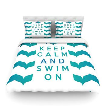 "Nick Atkinson ""Keep Calm and Swim On"" Teal White Cotton Duvet - Outlet Item"