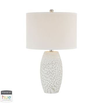 Farrah Table Lamp in White - with Philips Hue LED Bulb/Dimmer