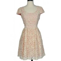 Pink and Cream Floral Lace Capsleeve Dress - DRESSES