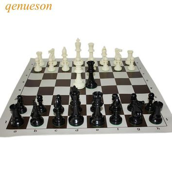 Cool International Standard Chess Game Set Competition King 97mm Large Plastic Chess Set with Chessboard 4 queen Board Games qenuesonAT_93_12