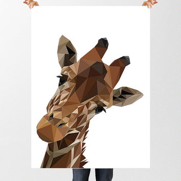 Low Poly Giraffe Printable Art, Giraffe Print, Geometric Giraffe Poster, Animal Poster, Childrens Art, Nursery Decor, Polygon Animal Print