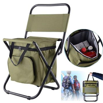 Outdoor Camping Folding Beach Chair Picnic BBQ Stool Seat With Storage Cool Bag Insulation Pack