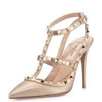 Valentino Rockstud Metallic Leather Pump