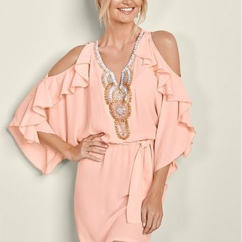 Light Pink Embellished Ruffle Dress from VENUS