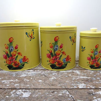 Vintage Yellow Canister Set of 3 Kitchen Storage Sugar Butterfly and Floral Motif