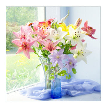Lily Flower Photograph, Lily Bouquet Still Life,  Floral Wall Decor, Spring Flowers