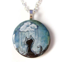 Rain Cloud Pendant, Black Cat Painted Art Necklace, Wood Circle