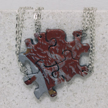 Puzzle Necklace Friendship Jewelry Set of 4 Metallic Mix Necklaces Polymer Clay
