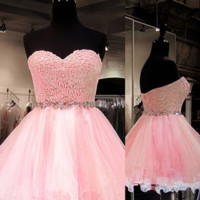 Homecoming Dress, Ball Gown Sweetheart Tulle Homecoming Dresses with Beading