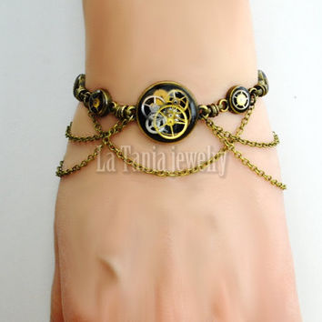Black Steampunk Bracelet - Vintage Watch Parts Gears,  Black Resin Bracelet, Draped Chain Bracelet, Steampunk Resin Jewelery,