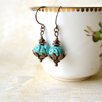 Artisan Earrings, Rustic Earrings, Eclectic Earrings, Turquoise Earrings, Rustic Jewelry, Copper, Boho Wedding, Woodland Natural Earthy