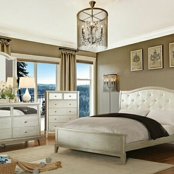 Furniture of america CM7282 5 pc Adeline collection silver finish wood with padded and tufted headboard queen bedroom set
