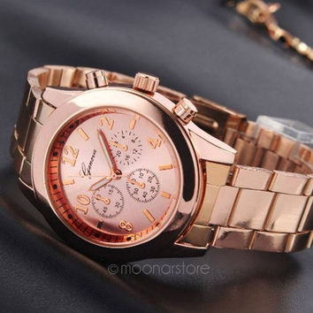 Luxury Stainless Steel Belt Sport Business Quartz Watch Women Men Rose Gold color Wristwatches = 1956372932
