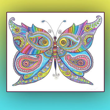 Nursery Wall Decor Butterfly Drawing Instant Digital Download PRINT, Butterfly painting Poster, Butterfly Zentangle Paisley Doodle Drawing