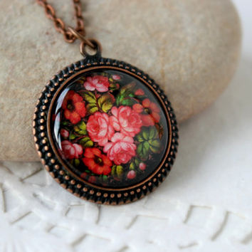 Red Bunch of Flowers Necklace, Antique Copper Pendant, Zhostovo Russian Folk Art, Floral Jewelry