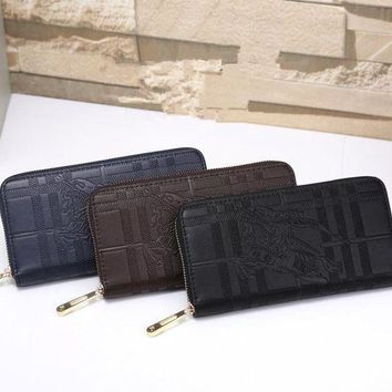 DCCKXT7 Burberry' Simple Classic War Horse Embossed Long Section Zip Double Layer Wallet Unisex Clutch Purse