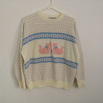 1980s HIPSTER kitty cat / cat lover / cat embroiderd fair isles pastel sweater