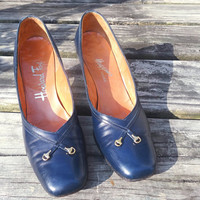 Vintage Howard Fox Heels 5 AA Narrow Navy Blue 1960s / 1970s Ladies or Teen / Jr Size