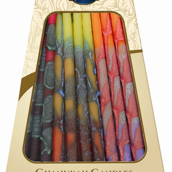 """Lamp Lighters Ultimate Judaica Safed Chanukah Candles - 45 Pack -Orange/Yellow/Purple 6"""""""