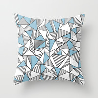 Abstraction Lines Sky Blue Throw Pillow by Project M