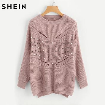 SHEIN Pearl Beading Laddering Back Sweater Pink Women Sweaters and Pullovers Long Sleeve Loose Womens Sweaters