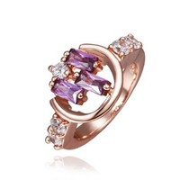 18K Rose Gold Plated Purple Rectangle Swarovski Elements Crystals Round Ring, Size 8
