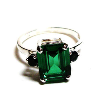 "Topaz, green topaz ring, topaz accent ring, green and black, 3 stone ring, anniversary ring, s 6 1/2  ""Luck O' the Irish"""