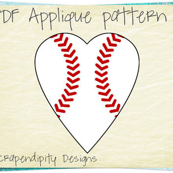 Baseball Heart Applique Pattern -  Sports Applique Template / Kids Boys Baseball Applique / Sports Quilt Pattern / Red White Tshirt AP269-D