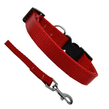 Basic Style Collar and Lead Set — Red