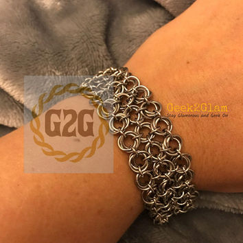 Stainless Steel Wedding Knot Chainmail Chainmaille Bracelet in silver with 3 strand slide clasp