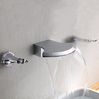 Double Handles Bathroom Wall Mount Waterfall Bath Tub Faucet Chrome Finish Widespread - Default