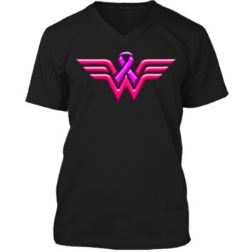 Breast Cancer Awareness T Shirt For Women Mens Printed V-Neck T
