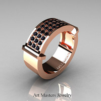 Gentlemens Modern 14K Rose Gold 33 Stone Black Diamond Ring MR184-14KRGBD