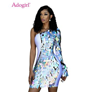 Adogirl Big Sequins Sheer Mesh Patchwork Club Dress Women Sexy One Shoulder Long Sleeve Bodycon Mini Party Dresses Female Outfit