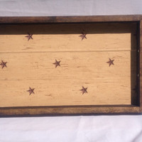 Rustic wood serving tray with handles, rustic star, breakfast in bed, wedding gift